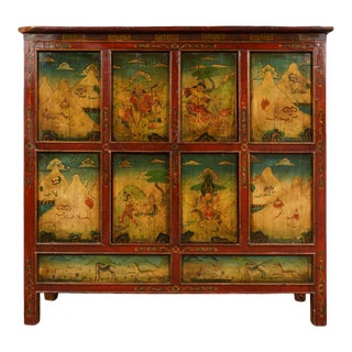 19th Century Antique Tibetan Hand Painted Tall Credenza For Sale
