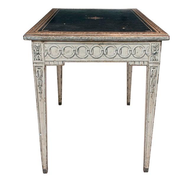 Napoleon III 19th Century Neoclassical Trompe l'Oeil Decor Desk and Black Leather Top For Sale - Image 3 of 9