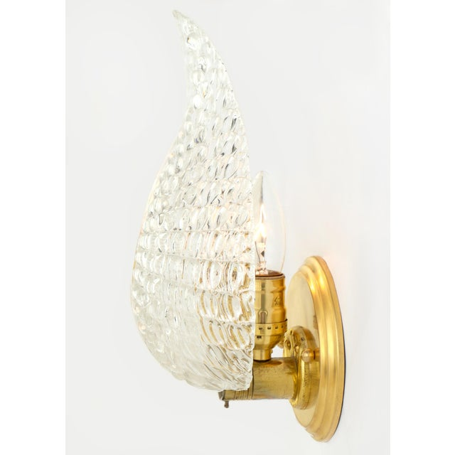 Murano Glass Leaf and Brass Wall Sconces For Sale - Image 4 of 9