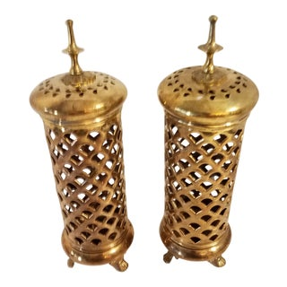 Vintage Indian Brass Cylinder Three Footed Incense Burners - a Pair For Sale