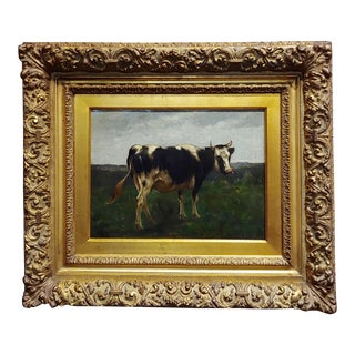 19th Century English School -Portrait of a Cow -Oil Painting For Sale