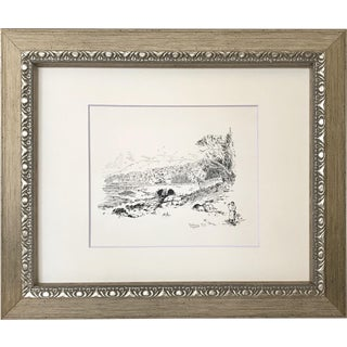 Antique English Landscape Drawing of Ffestiniog Wales For Sale