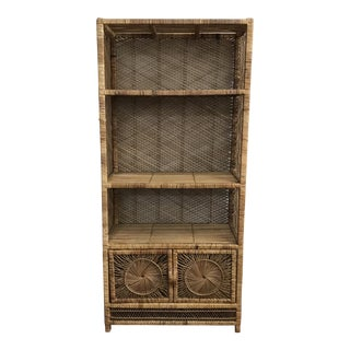 1960s Boho Chic Wicker Shelf Unit For Sale