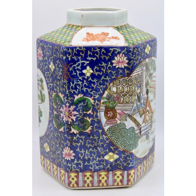 Large Antique Chinese Enamel Ceramic Vase For Sale - Image 4 of 13