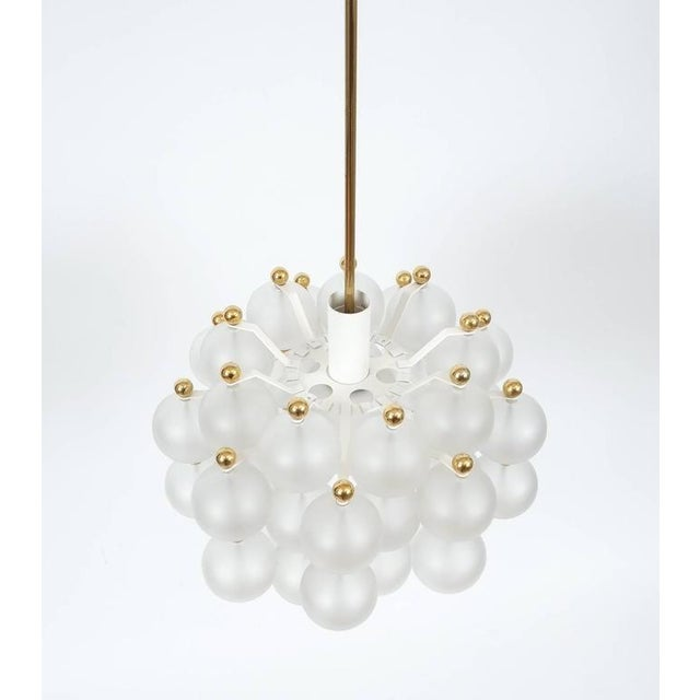 Satin Glass Chandelier Lamp in the Style of Seguso With Gold Knobs, circa 1980 For Sale - Image 6 of 10