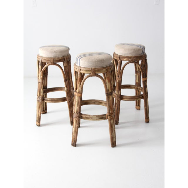 Fabric Vintage Rattan Bar Stools - Set of 3 For Sale - Image 7 of 10