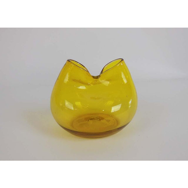 Vintage Blenko Yellow Pinched Glass Ivy Vase - Image 6 of 6