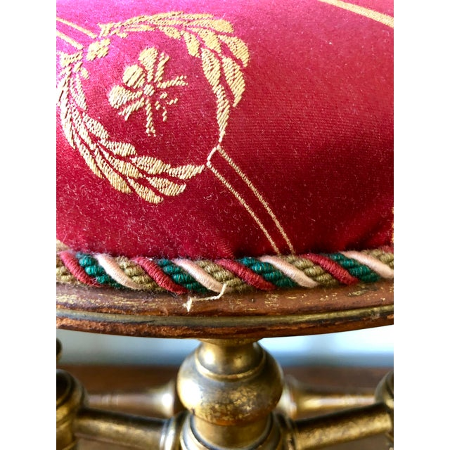 Late 19th Century French Napoleon III Giltwood Faux Bamboo Stool For Sale - Image 5 of 7