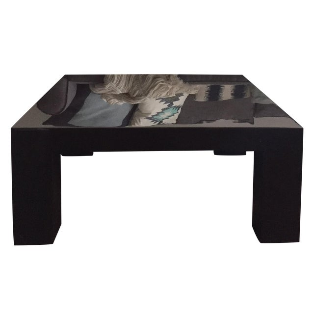 Jonathan Adler Brown Square Lacquer Coffee Table - Image 1 of 8