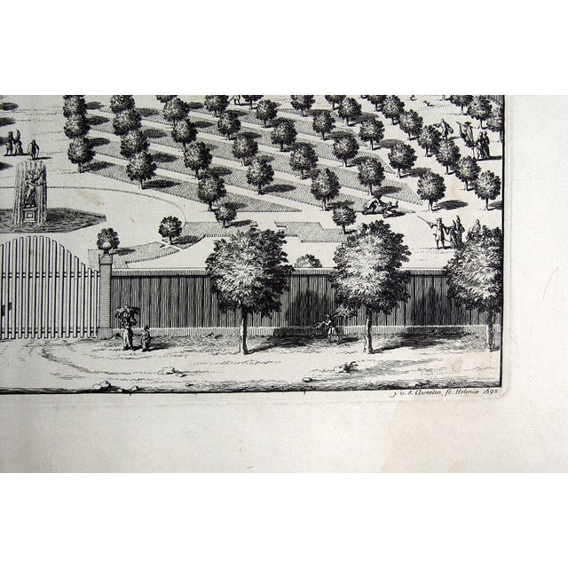Bird's-eye view engraving Noor Estate by Johannes van den Aveelen, 1698. View from the garden entrance, from a large...