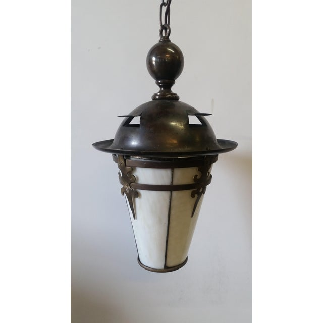 Gothic Arts and Crafts Brass Pendant Light For Sale - Image 11 of 11