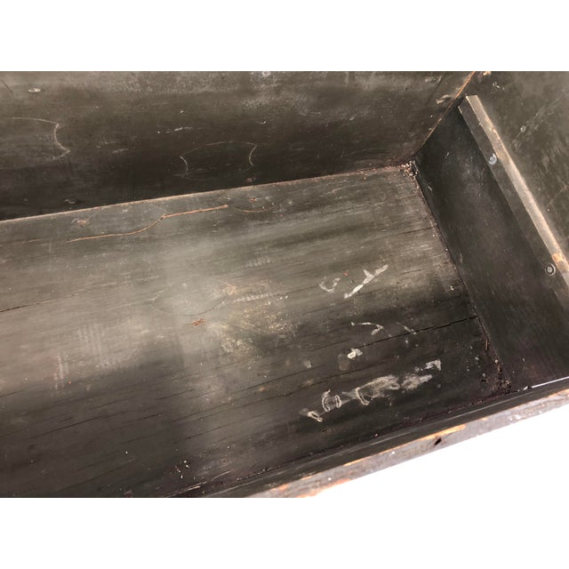 Vintage Industrial Wood Military Foot Locker With Tray For Sale - Image 11 of 13