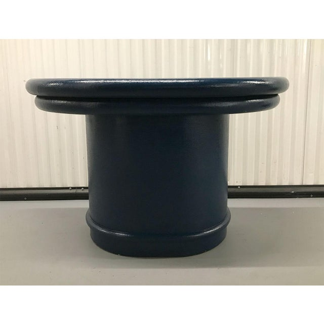 Vintage Blue Lacquered Raffia Covered Demilune Console Table For Sale In Atlanta - Image 6 of 12
