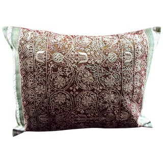 Rust Embroidered Silk Pillow For Sale