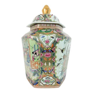 Massive Hexagonal Chinese 'Export Rose Medallion' Porcelain Urn or Ginger Jar With Butterflies and Gilt Finial For Sale