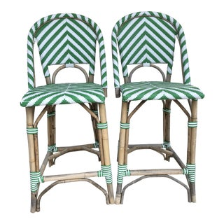 Green & White Stripe Rattan Bamboo Bar Stools - a Pair For Sale