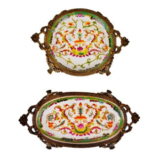 Antique Hua Rong Tang Zhi Porcelain Dishes with Gilted Brass Mounts - A Pair