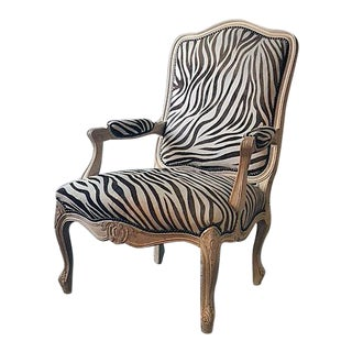 19702 Zebra Bergere Chair For Sale