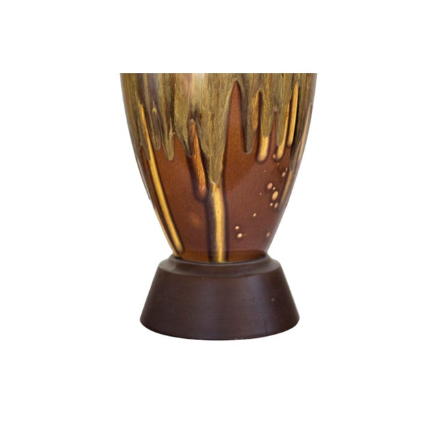 1960s Brown Ceramic Drip Glaze Table Lamp For Sale - Image 5 of 7