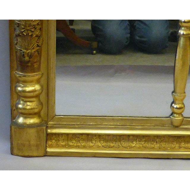 Traditional Early 19th Century Gilded Empire Overmantle Mirror For Sale - Image 3 of 4
