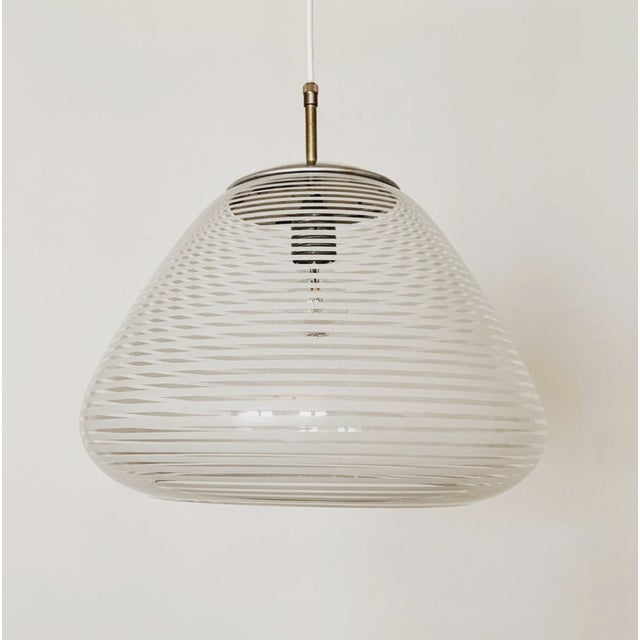 White Mid-Century Modern Glass Pendant Lamp by Wilhelm Wagenfeld for Peill and Putzler For Sale - Image 8 of 8