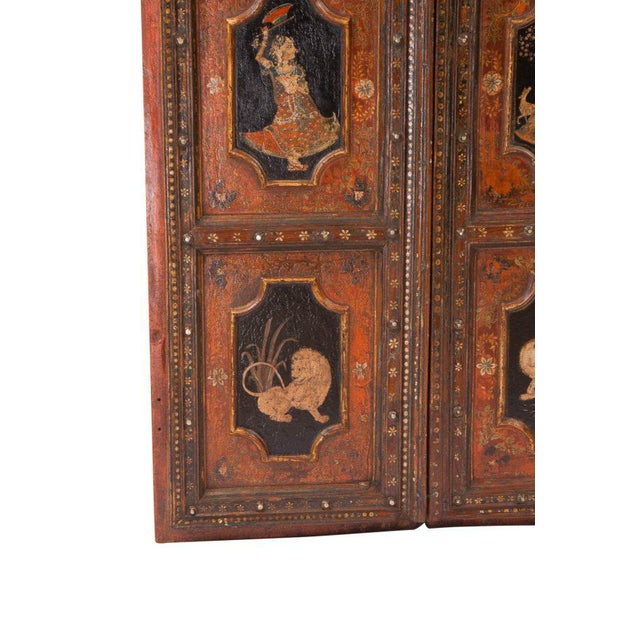 Italian 1830s Painted Indian Palace Doors - a Pair For Sale - Image 3 of 8