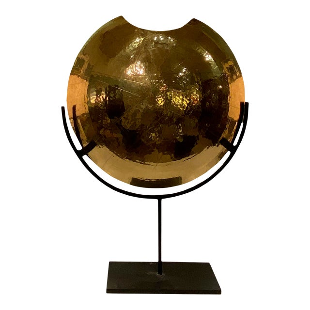 Large Brass and Iron Contemporary Vase For Sale