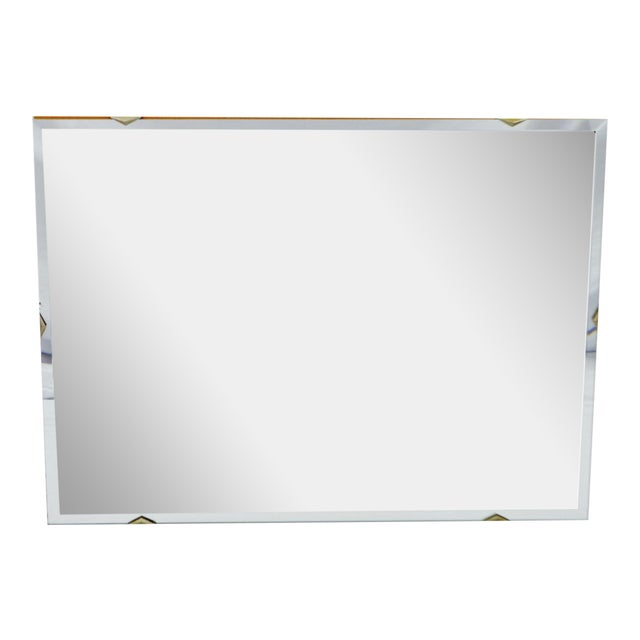 Vintage Mid Century Frameless Bevelled Glass Wall Mirror 24 X 18