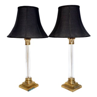 Frederick Cooper Brass & Lucite Table Lamps For Sale