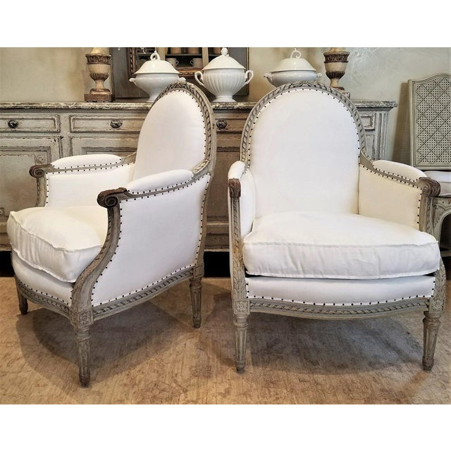 Pair of 19th C Louis XVI Bergeres - Image 5 of 5