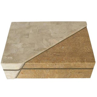 Maitland-Smith Asymmetrical Tessellated Stone Brass Box For Sale