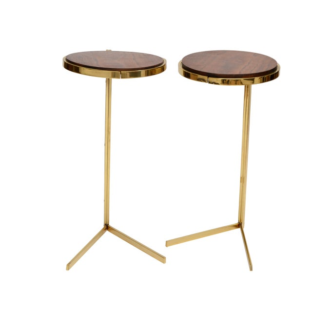 Personal Brass with Wooden Top Side Table - Image 3 of 9