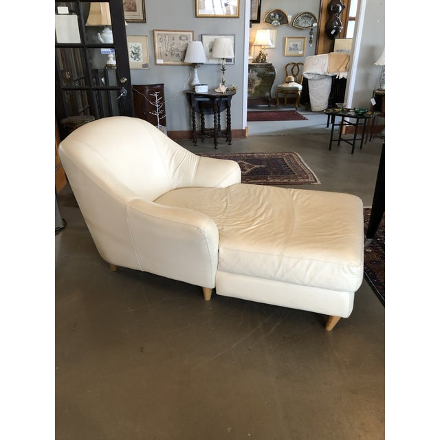 1980s Vintage Calia Italia Italian Cream Leather Chaise For Sale In Minneapolis - Image 6 of 13