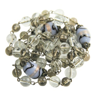 Vintage Jewelry Blue Black Lampwork & Clear Glass Bead Chain Necklace For Sale