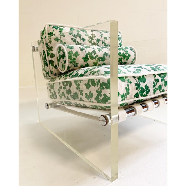 """20th Century Milo Baughman Lucite Slab Lounge Chair in Stevie Howell """"Brambles"""" For Sale In Saint Louis - Image 6 of 13"""