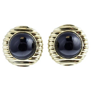 Cabochon Onyx Set in Gold Frame Earrings For Sale