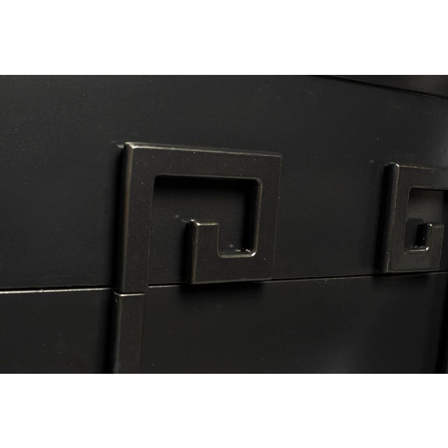 1950s Tall Kittinger Satin Black Chest of Drawers With Greek Key Detail For Sale - Image 5 of 13