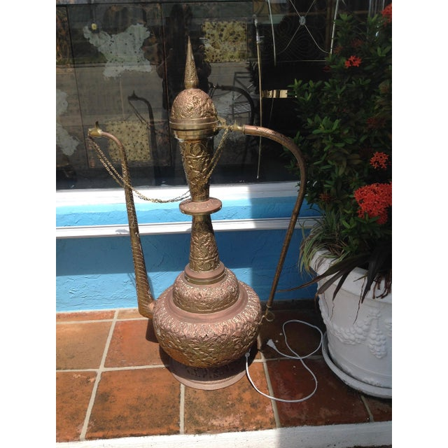 Monumental Pierced Brass Moroccan Ewer Lamp For Sale - Image 11 of 11