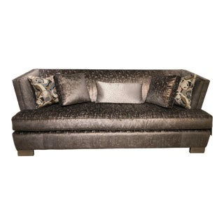 "Robert Allen ""Miles"" Copper Velvet Upholstered Sofa For Sale"