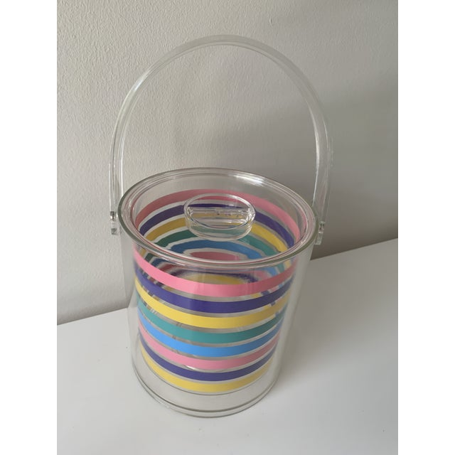 Transparent 1980s Striped Ice Bucket For Sale - Image 8 of 11
