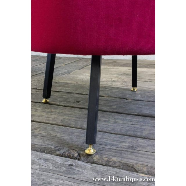 Italian Ottoman in Red Chenille For Sale - Image 5 of 6