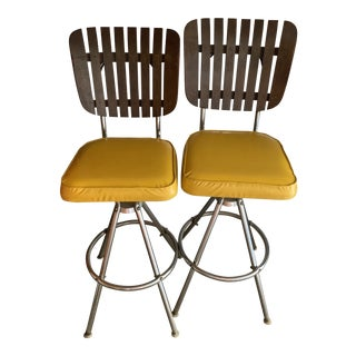 Mid-Century Modern Barstools Yellow Seats- A Pair For Sale