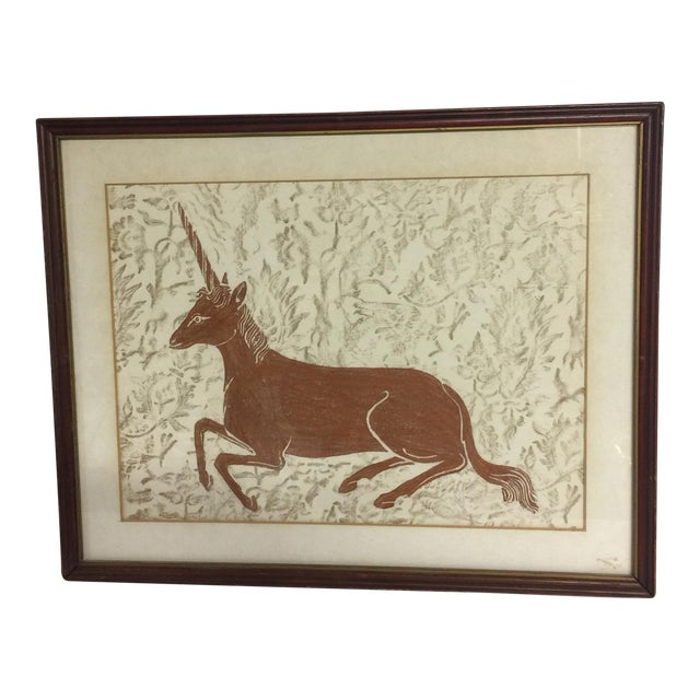 Mid-Century Framed Unicorn Rubbing For Sale