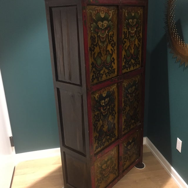 Antique Tibetan Hand-Painted Six Door Cabinet - Image 4 of 9