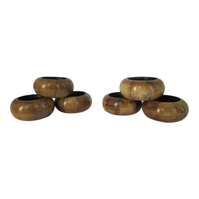 Wood Napkin Rings - Set of 6 For Sale