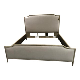 Transitional Henredon Furniture 1945 Quartz Grey Catherine Queen Upholstered Bedframe For Sale