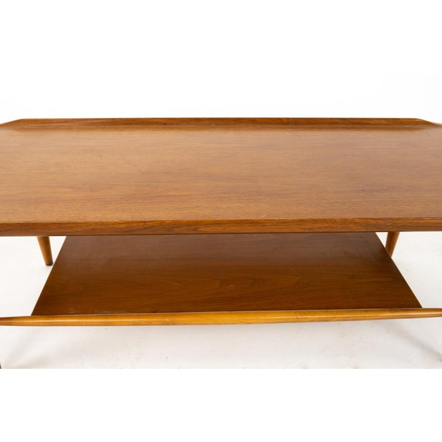 Brown Grete Jalk Style Mersman Mid Century Surfboard Mahogany Coffee Table For Sale - Image 8 of 11