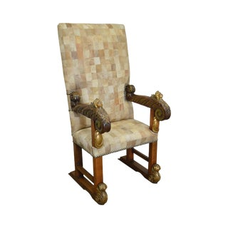 18th Century Italian Renaissance Patchwork Leather Upholstered Partial Gilt Throne Chair For Sale