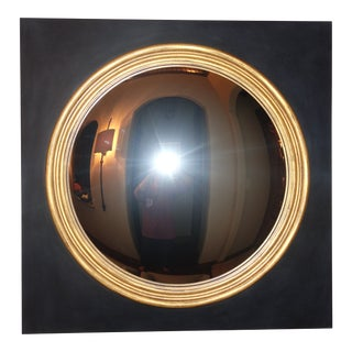 Restoration Hardware 18th C. English Regency Black and Gold Convex Mirror For Sale