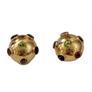 "Vintage 14k Gold ""Sputnik"" Multi Stone Clip Earrings For Sale"